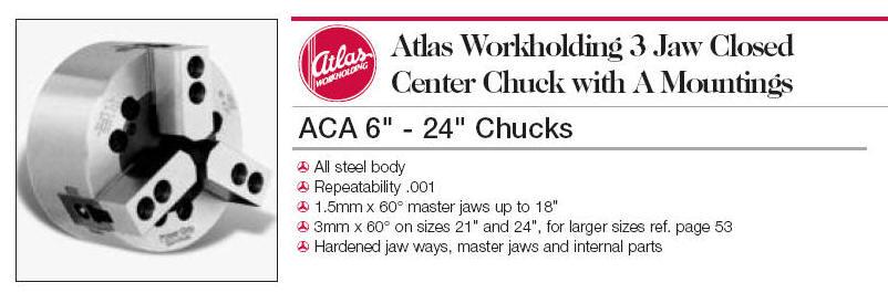 Atlas Lathe Chucks - 3-Jaw power chucks with closed center
